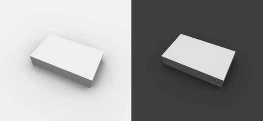 A minimal business card mockup in black and white, to promo your own webpage on social media (3D rendering)