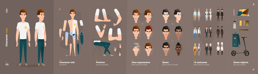 Casual Clothes Style. Man Cartoon Character for Animation