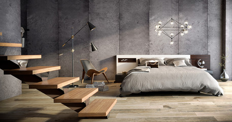 Dormitorio amplio estilo industrial Fototapete