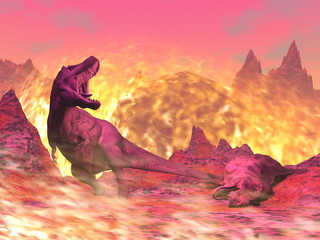 Deurstickers Candy roze Tyrannosaurus Rex dinosaur dying in the fire - 3D render