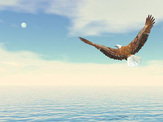 Bald eagle flying to the moon - 3D render