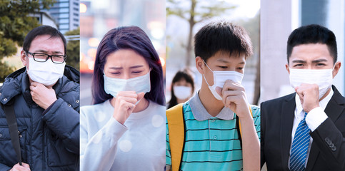 Asian people suffer from cough with face mask protection