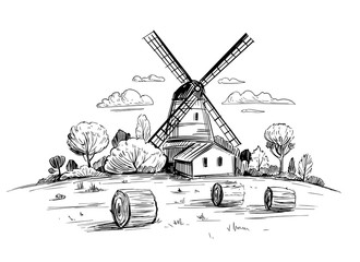 Photo sur Plexiglas Blanc Countryside landscape with a mill. Hand drawn illustration converted to vector. Outline isolated on transparent background