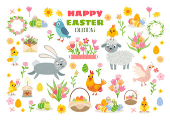Set of easter cartoon characters and design elements