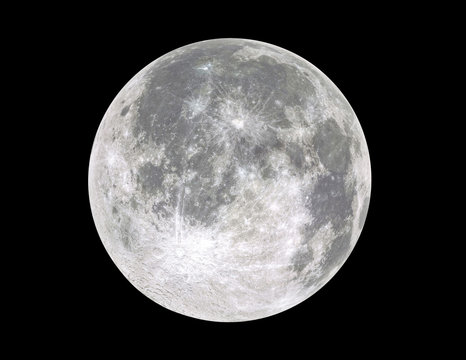 Full moon isolated on black background.Image in high resolution. Bright lunar satelite.