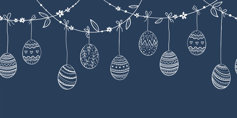 Cute hand drawn hanging easter eggs horizontal seamless pattern, fun garland, great for textiles, banners, wallpapers, easter cards and wrapping - vector design