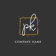 Obraz Handwritten initial letter P K PK for identity and logo. Vector logo template with handwriting and signature style. - fototapety do salonu