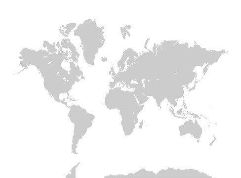 world map.  Gray continents on white background. Asia, Africa, North America, South America, Antarctica, Europe, and Australia.
