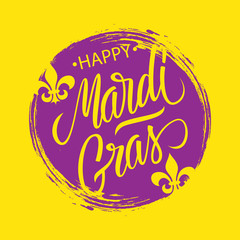 Happy Mardi Gras greeting card with circle brush stroke backgroud and calligraphic lettering text design. Fat Tuesday vector illustration.