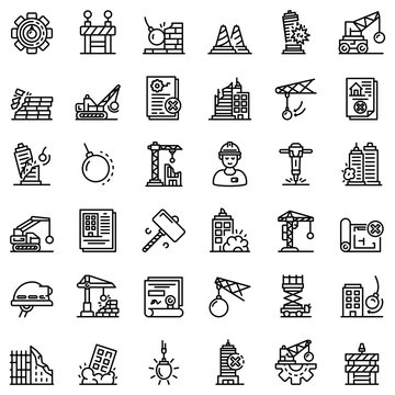 Demolition work icons set. Outline set of demolition work vector icons for web design isolated on white background