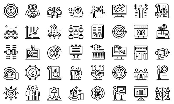Account manager icons set. Outline set of account manager vector icons for web design isolated on white background