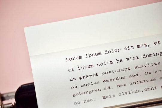 Sheet of Paper on Typewriter with Lorem Ipsum