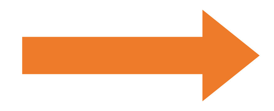 Orange arrow to the right / vector, isolated