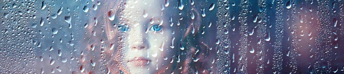 portrait of a girl child in the rain / autumn portrait, little girl drops raincoat rain weather Fotobehang