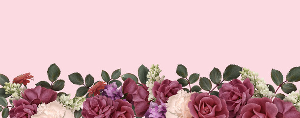 Poster Floral Border floral banner, header with copy space. Dark red roses, purple hydrangea, white peony, lilac isolated on pink background. Natural flowers wallpaper or greeting card.