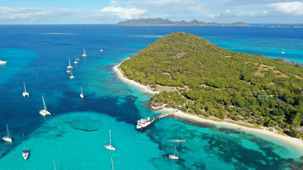 Caribbean islands & sea aerial view, St. Vincent & Grenadines