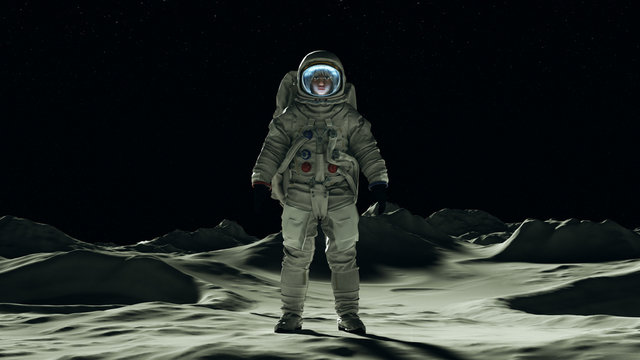 Astronaut man on the Moon in a Space Suit Standing with a Clear Visor Moonscape Front View 3d Illustration 3d render
