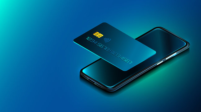 Mobile phone and credit card. Internet banking. Online payment security. Protection shopping wireless pay through smartphone. digital technology.