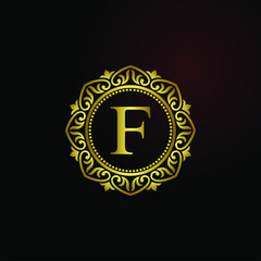 Luxury logo concept letter F in vector for restaurant, royalty, boutique, hotel, jewelry, fashion, cosmetic