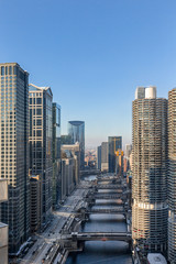 Canvas Print - Downtown Chicago – Skyscrapers Along Chicago River and Wacker Drive
