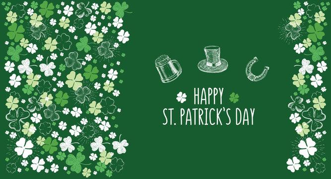 St. Patrick's Day set. Clover set. Hand drawn illustrations.