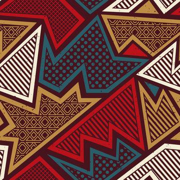 Tribal geometric seamless pattern with grunge effect