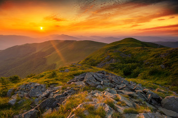 Beautiful summer sunset in the mountains
