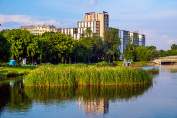 Panoramic view of the Sluzew district of Warsaw, Poland with its recreational green spaces and...