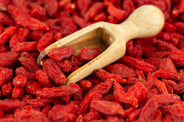 Scoop with dried goji berries in close-up, selective focus