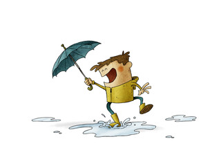 Boy with umbrella and raincoat jumps over a puddle of water. illustration about a rainy day. isolated