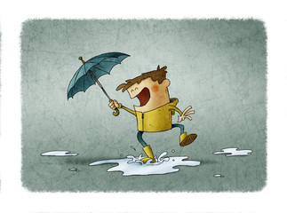 Boy with umbrella and raincoat jumps over a puddle of water. illustration about a rainy day