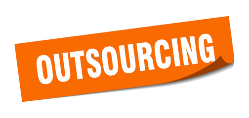 outsourcing sticker. outsourcing square sign. outsourcing. peeler