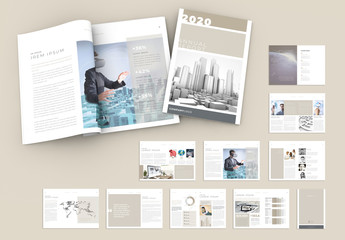 Minimal Neutral Multipurpose Annual Report Brochure Layout