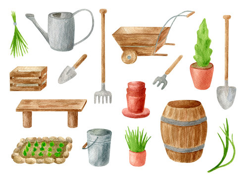 Watercolor gardening tools set. Hand drawn watering can, rake, bucket, wood box and cask, shovel, garden bed, seedling in flower pot, bench and wheelbarrow isolated on white. Spring, summer clipart