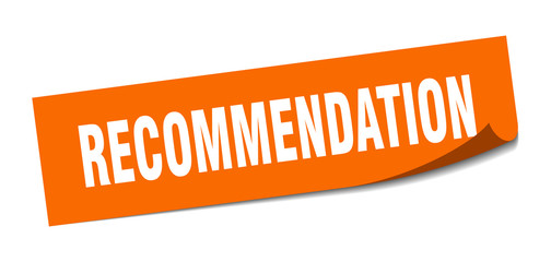 recommendation sticker. recommendation square sign. recommendation. peeler