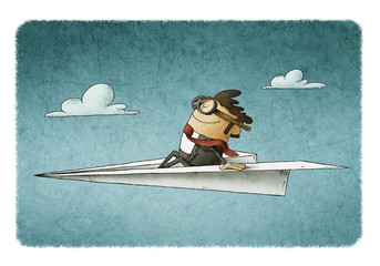 Businessman sitting on a paper plane flies at high speed.