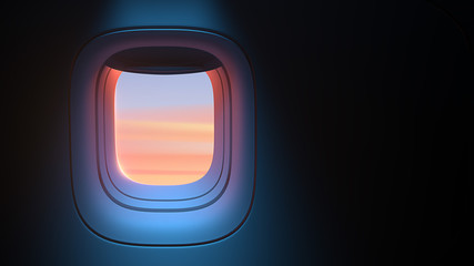 Airplane porthole in the evening ambient atmosphere with clouds sunset visible through window. In pink blue color scheme. Ultra realistic 3d render illustration with copy space