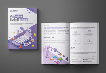 Purple and White Bifold Business Brochure Layout with Illustrations