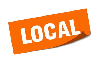 local sticker. local square sign. local. peeler