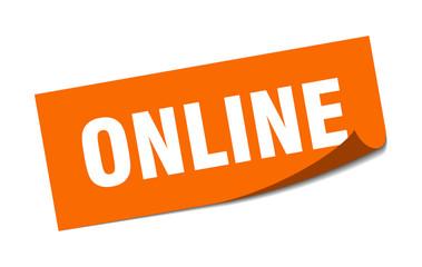 Fototapeta online sticker. online square sign. online. peeler obraz