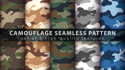 Garden Poster Pattern Set camouflage military seamless pattern