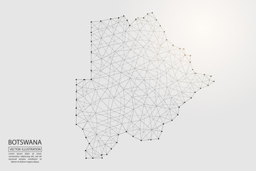 A map of Botswana consisting of 3D triangles, lines, points, and connections. Vector illustration of the EPS 10.