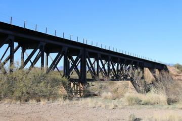 railroad bridge desert river crossing