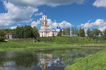 Kashin, Russia. View of Resurrection Cathedral from the shore of Kashinka river. The present cathedral was built in 1796-1804. The bell tower with height of 79 meters was built in 1855-1867.