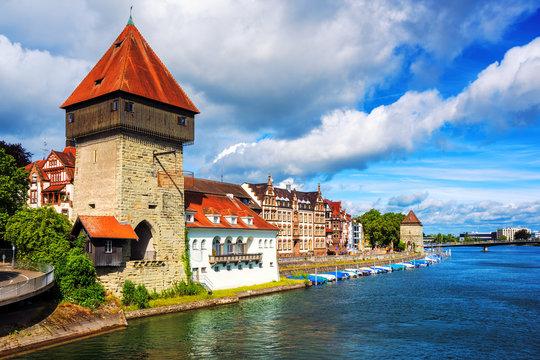 Medieval Rhine Gate Tower in Konstanz, Germany