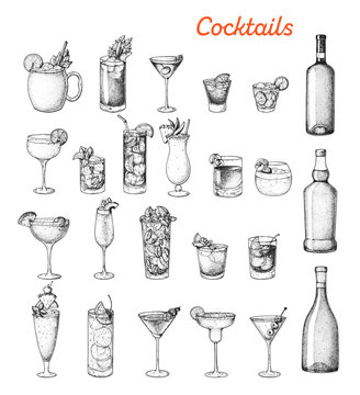 Alcoholic cocktails hand drawn vector illustration. Sketch set. Cognac, brandy, vodka, tequila, whiskey, champagne, wine, margarita cocktails. Bottle and glass.
