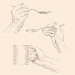 Female hands hold cutlery mug and spoon. Pencil sketch on a beige background.