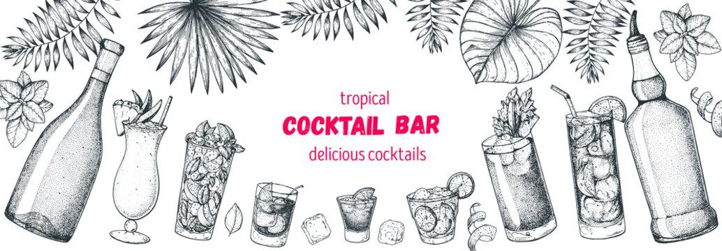 Alcoholic cocktails hand drawn vector illustration. Hand drawn sketch. Cocktails and palm leaves set. Menu design elements. Summer bar menu.