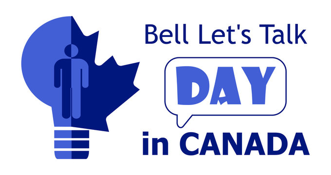 Bell Let's Talk Day is celebrated on the last Wednesday of January in Canada. I is about mental illnesses. Mentality healthcare of brain problem vector. Psychiatry, apathy, schizophrenia