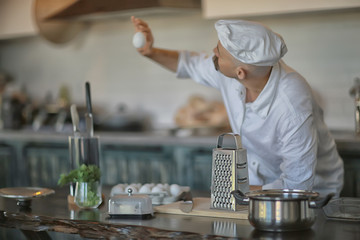 french chef in the kitchen preparing food, cooking, haute cuisine, man with mustache